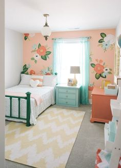Girl's bedroom inspired by Rifle Paper Co. by Design Loves Detail (via House of Turquoise). Audrey's room with coral Girls Bedroom Furniture, Bedroom Themes, Bedroom Colors, Bedroom Rugs, Bedroom Bed, Bedroom Inspo, Bedroom Inspiration, Toddler Rooms, Girl Toddler Bedroom