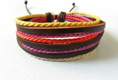 fashion multicolor Adjustable real leather and cotton ropes by feihong2012, $3.00