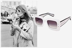 10 Iconic Women and Their Outfit-Making Sunglasses - Elle Francoise Hardy, 1966  Marc Jacobs Square Sunglasses