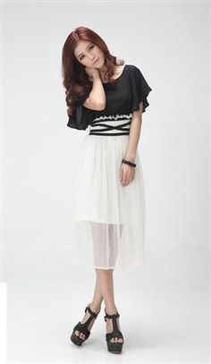 Korean Fashion Short Sleeve Chiffon Long Dress