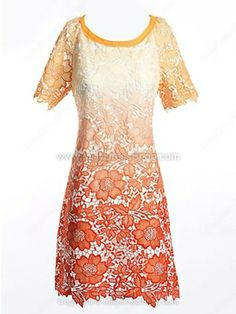 Orange Gradient Floral Cutwork Short Sleeve Shift Dress