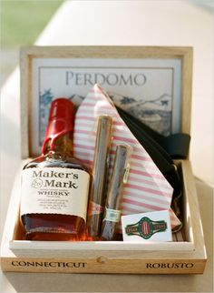 Groomsman gift with whiskey and cigars. Event Design: Jamie Krywicki Wilson ---> http://www.weddingchicks.com/2014/05/28/get-married-in-charleston/