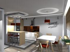 Kompleksowy projekt mieszkania w bloku. Jedna z wersji wykończenia salonu z aneksem kuchennym. Meble Vox.