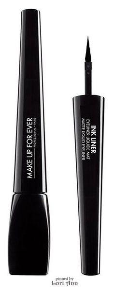 Trending Fall 2015 - Black Eyeliner (image features: Ink Liner Matte Liquid Eyeliner by Make Up For Ever)