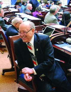 Sen. Lyle Hillyard sits at his desk during the opening day of the Utah Legislature in Salt Lake City. This marks the start of Hillyard's 30th year with the Legislature. (Photo by Eli Lucero)