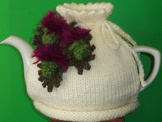 hand knitted Scottish thistles tea cosy by peerietreisures on Etsy