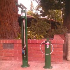 This is a Dero Bike Repair Station that we just installed in our library! Every library should get one.