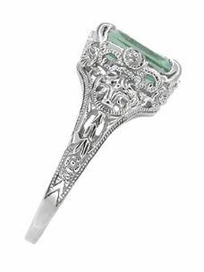Edwardian Filigree Emerald Cut Prasiolite ( Green Amethyst ) Ring in Sterling Silver - Click to enlarge