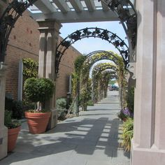Example of an alley in Livermore, CA getting a makeover. Cities recognize that pedestrians travel down alleys to reach shopping destinations from parking lots. Extra lighting, plants, benches make alleys feel more safe and clean.