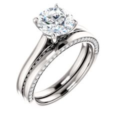 1 ct Round Forever One (GHI) Moissanite Solid White Gold Engagement Ring Set - Princess Cut Engagement Rings, Engagement Ring Settings, Diamond Engagement Rings, Forever Brilliant Moissanite, Forever One Moissanite, White Sapphire, White Gold Diamonds, London Blue Topaz, Diamond Cuts