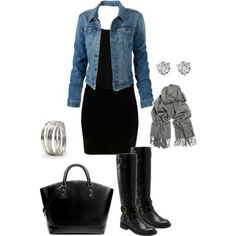 boots with knee length dress and denim jacket. Scarf optional. Bangles, big purse