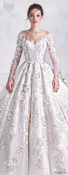 Ginza collection wedding dress long sleeve sweetheart neck italian lace