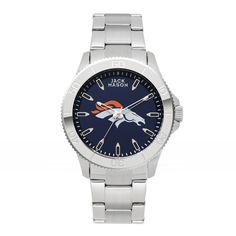 Denver Broncos Stainless Sports Watch w/ Navy Dial