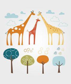 Safari Väggdekaler Giraff