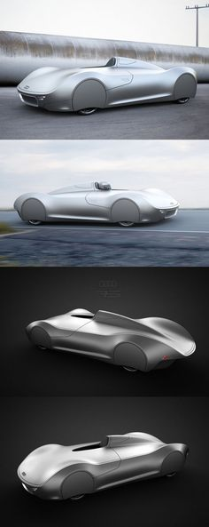 "♂ Concept car. Way back in 1938, there was the Auto Union Type C race car. It was difficult to handle, dangerous to ride but had better power and acceleration than earlier, ""safer"" models. A German design student brought the classic back from the dead, with his Audi Stromlinie 75 Concept — a beautiful car that pays homage to the original while looking like something that could realistically be on the road sometime in the future. Original from http://airows.com/audi-stromlinie-75-concept/"