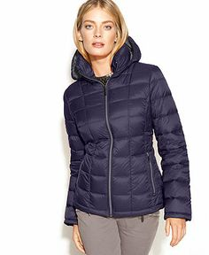 MICHAEL Michael Kors Coat, Hooded Quilted Down Packable Puffer - Coats - Women - Macy's