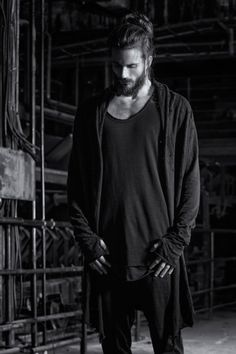 "prometheus-one: "" ""Thom Krom "" "" Dark Fashion, Mens Fashion, Sexy Beard, Little Black Books, Man Bun, Beard Styles, Bearded Men, Black Men, Male Models"