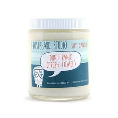 Don't Panic (Fresh Towel)   14 Rad Scented Candles Inspired By Books