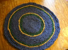 Blue Green and Gold Rag Rug by Badart on Etsy, $80.00