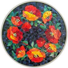 Poppy mosaic for my little round table