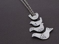 Scandinavian Bird Stack Necklace in Hand Stamped Sterling Silver, $126.00