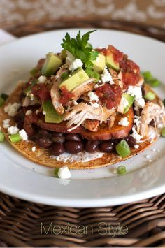 Mexican Thanksgiving Tostadas. Great way to use those leftovers! FamilyFreshCooking.com