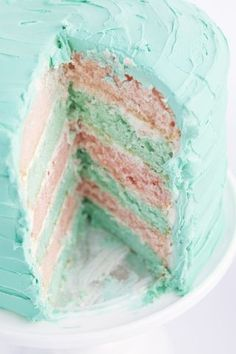 A gorgeous layer birthday cake. A turquoise butter cream icing birthday cake.... with a white cake center... some of the layers dyed turquoise. Sweet, pretty and simple.