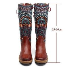 Socofy SOCOFY Bohemian Splicing Pattern Flat Leather Rainbow Knee Boots is hot-sale. Come to NewChic to buy womens boots online Mobile. Leather Motorcycle Boots, Leather Lace Up Boots, Real Leather, Mid Calf Boots, Knee High Boots, Flat Boots, High Heels, Site Mode, Stylish Boots