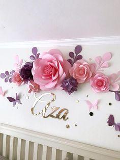 Vivero flores  flores de papel sobre la cuna  Baby niña sala