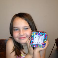 Emma and her finished clock!