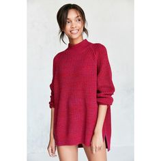 BDG Waffle-Knit Turtleneck Sweater ($69) ❤ liked on Polyvore featuring tops, sweaters, turtle neck sweater, long turtleneck sweater, long red sweater, waffle sweater and oversized sweaters