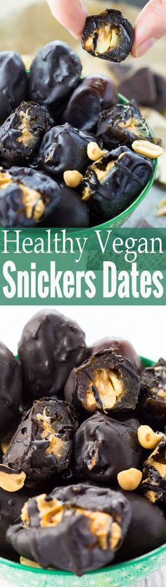 These peanut butter stuffed dates with chocolate are like vegan snickers, just sooo much healthier and insanely easy to make!! One of my favorite vegan desserts!