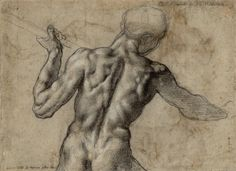 Michelangelo, Rückenakt mit Fahnenstange, um 1504 © Albertina, Wien #Michelangelo #Renaissance #Drawing #GraphicArt #GraphicCollection #Masterpiece