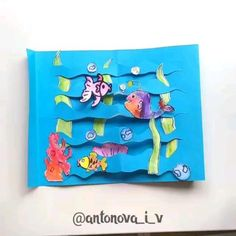 Paper Crafts For Kids, Preschool Crafts, Diy For Kids, Arts And Crafts, Fish Crafts, Flower Crafts, Aquarium Craft, Art Lessons Elementary, Activities For Kids