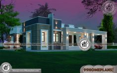 Single Story House Elevation with Contemporary Modern Home Designs Having 3 Total Bedroom, 3 Total Bathroom, and Ground Floor Area is 1725 sq ft, Hence Total Area is 2095 sq ft One Level House Plans, Two Storey House Plans, One Level Homes, Open Floor House Plans, Duplex House Plans, House Plans One Story, Story House, Small Modern House Plans, Simple House Plans