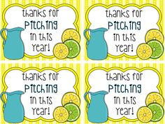 "Make a ""Thanks For Pitching In"" sign and display next to a beverage like O., lemonade, etc. Volunteer Quotes, Volunteer Gifts, Volunteer Appreciation, Teacher Appreciation Week, Appreciation Gifts, Volunteer Ideas, School Gifts, Student Gifts, Teacher Gifts"