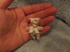 Miniature handmade MINI BABY GIRL ooak SCULPT TINY DOLL HOUSE DOLLHOUSE ARTIST