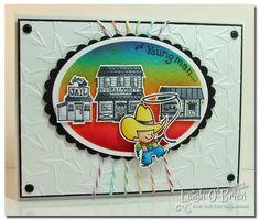 That's my boy! Purty rainbow card by Leigh O'Brien