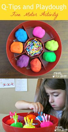 Plastic golf tees would be easier than the q tips. Q Tips and Playdough Fine Motor Activity. Find out how to make dyed q-tips and use them for a fine motor color matching activity. Fine Motor Activities For Kids, Motor Skills Activities, Gross Motor Skills, Toddler Activities, Learning Activities, Physical Activities, Physical Education, Health Education, Dementia Activities