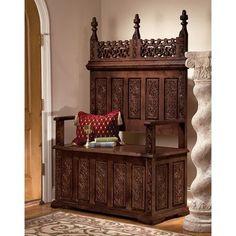 Design Toscano York Monastery Hardwood Entryway Storage Bench