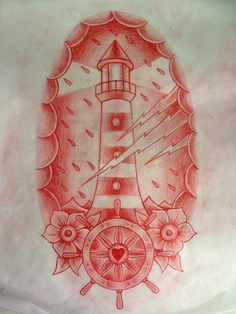 oldschool ship tattoo lighthouse - I love the wheel and flowers at the bottom Traditional Lighthouse Tattoo, Neo Traditional Tattoo, Tattoo Sketches, Tattoo Drawings, Life Tattoos, Cool Tattoos, Lightning Tattoo, 4 Tattoo, Tattoo Flash