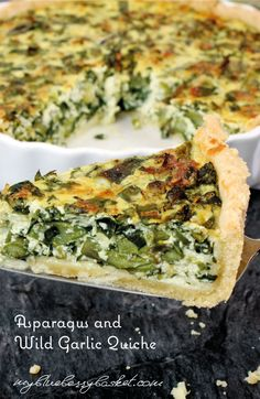Asparagus and Wild Garlic Quiche. Create the taste of spring with this delicious quiche. A homemade pastry is filled with green asparagus, wild garlic (or rocket salad and garlic), ricotta, creme fraiche, eggs and spring onions. Rocket Salad, Homemade Pastries, Wild Garlic, How To Cook Asparagus, Creme Fraiche, Ricotta, Onions, Quiche, The Help