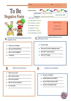 Verb to Be Negative Form English Grammar Worksheets, Grammar Book, Ejercicios Verbo To Be, English Lessons, Learn English, Verbo To Be Ingles, Simple Present Tense, English For Beginners, Teachers Corner
