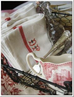 CONFESSIONS OF A PLATE ADDICT Favorite Tips for Adding Country French Style - IKEA tea towel with monogram graphics from graphics fairy