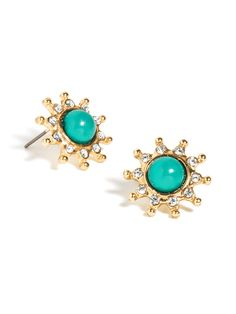 Miniature cabochon gems look perfect when framed by gold prongs and create a look that adds a perfect sunny pop to any outfit, be it neutral or bright.
