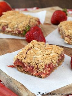 Celebrate your garden's early summer bounty with these delicious Gluten Free Strawberry Rhubarb Squares.