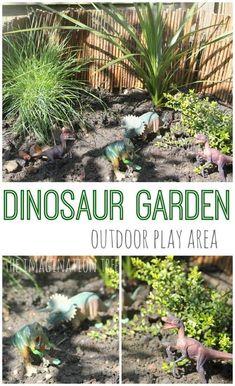 Small World Play: Dinosaur Garden for Preschool outdoors.