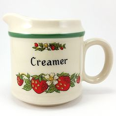 """Strawberries Creamer Vintage Fruit Stoneware Japan Brand: Unknown Capacity: 8oz Measures: 3 1/4"""" x 3 1/4"""" (8.25cm x 8.25cm) Year: Unknown In pre-owned condition with no chips, cracks, stains, or stir"""