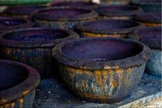 Terracotta, indigo pots, Thailand.