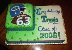"""This is a 12""""x18"""" sheet with an 8"""" in the corner in BC. The green is Wilton's spray color. This is for a graduation party for a kid that was on the football team so the small cake has the image of his helmet, a ball, and his number."""